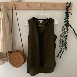 Olive and black sleeveless top
